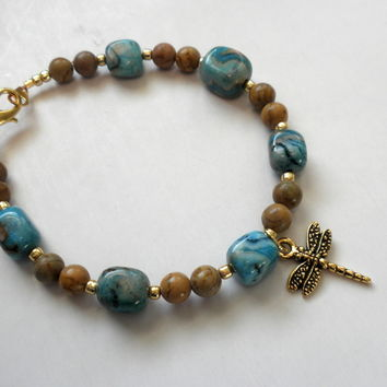 Dragonfly Charm Dyed Agate and Limestone Bead Bracelet