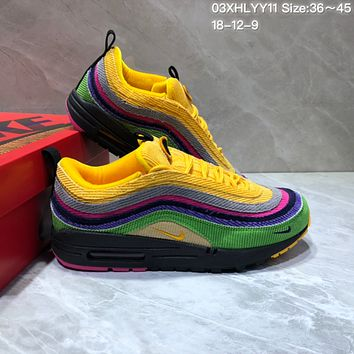 kuyou N827 Nike Air Max 97 VF SW Cushion Sports Running Shoes Yellow Green