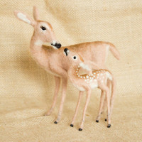 Grace the Deer and her Fawn Brody: Needle felted animal sculptures