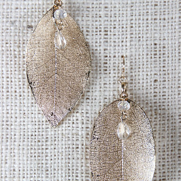 Leaf and Rhinestones Dangle Earrings