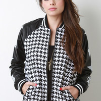 Houndstooth Stars Letterman Jacket