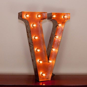 "24"" Letter V Lighted Vintage Marquee Letters with Screw-on Sockets"