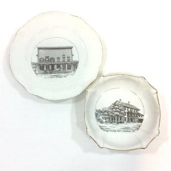 Chelsea Vermont Souvenir China, Plate Ashtray, Marked P.C.C. Germany, W.S. Hatch 1910, Post Office & Hotel, Mason Emblem, Antique Porcelain