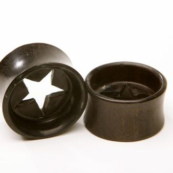 """Ebony Wood Plugs with carved cut out star - 7/16"""", 1/2"""", 9/16"""", 5/8"""", 11/16"""", 3/4"""", 7/8"""", 1"""""""