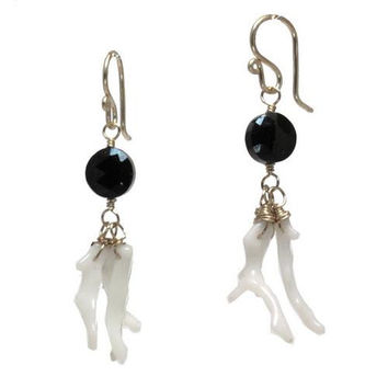 Black Spinel and Coral Rose Gold Earrings