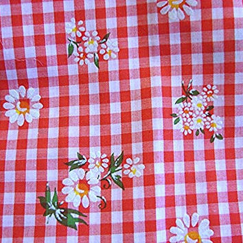1970s Gingham Fabric Red White Check White Daisies Flocked Vintage Fabric