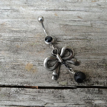 Bow Belly Button Ring, Navel Ring, Navel Piercing, Dangle Belly Ring, Belly Button Ring, Belly Button Jewelry, Stocking Stuffer, Christmas