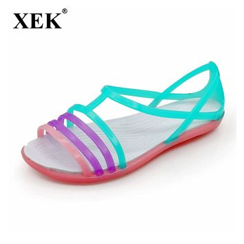 Women Sandals Summer New Candy Color Women Shoes Peep Toe Stappy Beach Valentine Rainbow Croc Jelly Shoes Woman Flats ST235