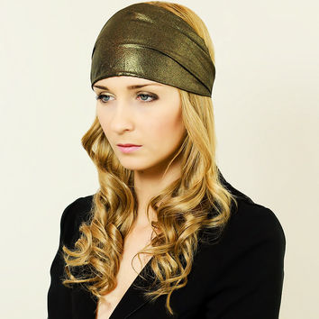 Headwrap Hairband Wide Headband Hair Accessory Adult Headband Bronze