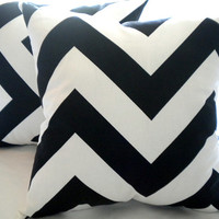 Wide chevron pillow cover,  white black pillow cover, 20 x 20