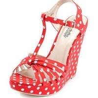 Canvas Polka Dot T-Strap Wedge: Charlotte Russe