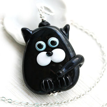 Solid Black Cat necklace, black Kitten, Cat Jewelry, Lampwork glass Cat, Adoptable, Cat lover gift, Pet Adoption, Cat lady