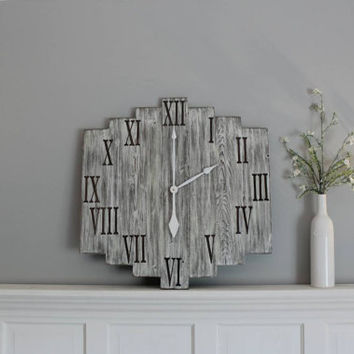 "Gray rustic clock | distressed wooden clock | roman numeral clock | 24"" clock 