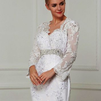 Sexy Backless Vintage Mermaid Wedding Dresses With Sash Crystal And Pearls Beads Long Sleeve Bridal Dress