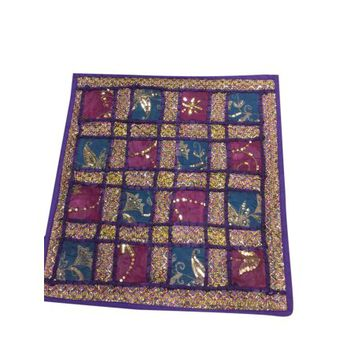 """Mogul Purple Hand Crafted Pillow Sham Embroidered Sequin Patchwork Cushion Covers 16""""X16"""" - Walmart.com"""
