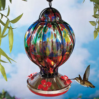 Beautiful Handblown Glass Hummingbird Feeder Hang It Or Tabletop Yard Garden New