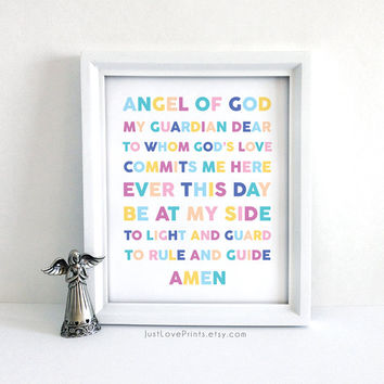 Guardian Angel Prayer - 8x10 Print - Inspirational Christian Art