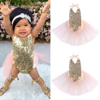 Sequins Bodysuit 2016 New Pink Baby Girls Clothing Bow Sleeveless Cute Casual Sunsuit Outfits Baby Girl Bodysuits Clothes 0-24M
