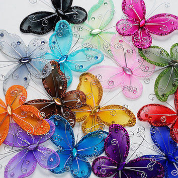 Nylon Organza Glitter Butterflies Table Confetti Chair Sash Cover, 12-Piece