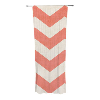 "Ann Barnes ""Vintage Coral"" Orange Chevron Decorative Sheer Curtain"