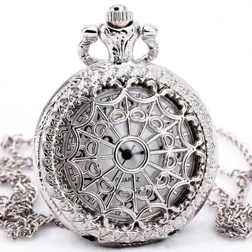 Silver Hollow Quartz Pocket Watches Men Women Vintage Steampunk Delicate Metal Carved Lid Necklace Pendant Clock Gifts +BOX