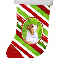 Australian Shepherd Candy Cane Holiday Christmas Christmas Stocking LH9228