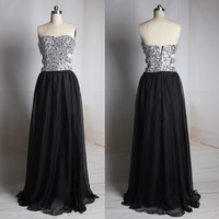 Black Sweetheart Beaded Bodice Prom Dress Sexy Waist Beaded Prom Gown