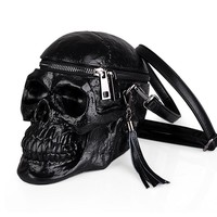 3D Skull Shoulder Bag Crossbones Messenger Bag Street Black Leather Zipper Handbags Steam Punk