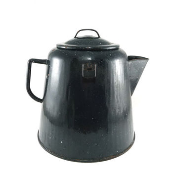 Black speckled cowboy tea kettle, Rustic kitchen decor