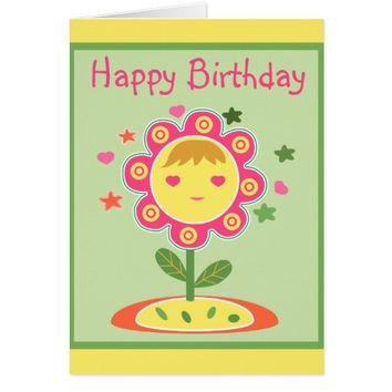Cute Pink Flower Girl Happy Birthday Greeting Card