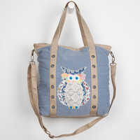 T-Shirt & Jeans Patchwork Owl Chambray Tote Bag Denim One Size For Women 23508480001