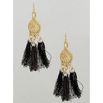 Louder than Words Brown Tassel Earrings