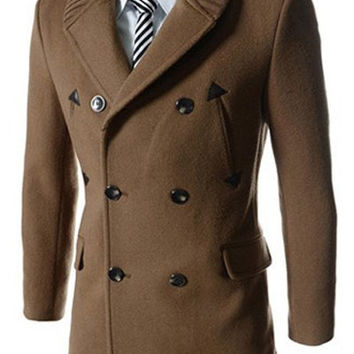 PU Leather Multi-Button Long Sleeves Woolen Peacoat
