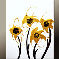 Abstract Art Canvas Painting 16x20 Contemporary Gold Metallic Flower Art Paintings by Destiny Womack - dWo - Golden Petals