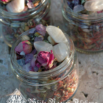 Full Moon Crystal Incense Potion . Empowerment, Abundance, Divine Love, Blessings . Sacred Herbs, Woods, Powders, Crystals