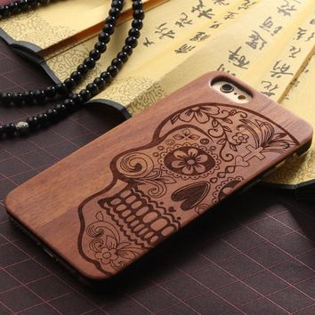 "Natural Carved Wood Wooden Hard Case Cover Protect Skull / Punk Rock For iPhone 6/6s 4.7""  FREE SHIPPING USA ONLY"