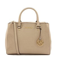 MICHAEL Michael Kors Sutton Metallic Medium Convertible Satchel - Pale