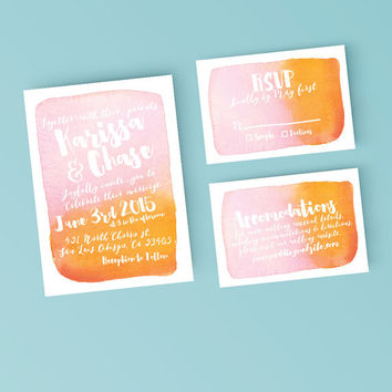 Printable Wedding Invitation Set - Watercolor Background Invite, RSVP, Details Card - DIY Digital Ready to Print