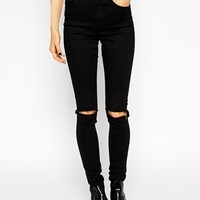 ASOS Ridley Skinny Jeans in Clean Black with Busted Knees at asos.com
