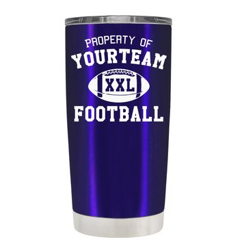 TREK Custom Property of Team Football on Intense Blue 20 oz Tumbler Cup