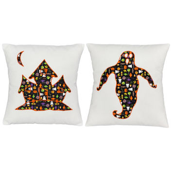 Set of 2 Haunted House Cotton Throw Pillow Covers  and/or Cushions- available in 14x14 and 16x16  on White Cotton Canvas
