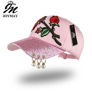 JOYMAY Spring New Fashion Women Baseball cap with Flower Rose Embroidery Badge Adjustable Leisure Casual Snapback HAT B433