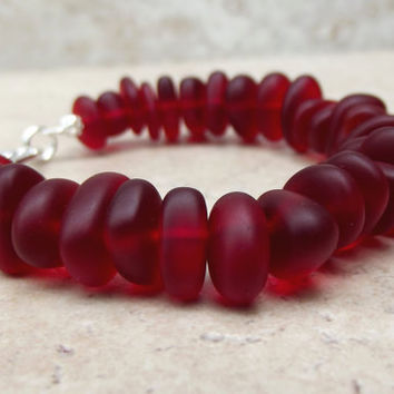 Red Velvet Bracelet:  Cherry Red Sea Glass Beaded Pebble Bracelet, Holiday Christmas Beach Wedding Jewelry