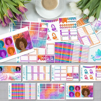 Vibrant Toronto Sound Afro Girl Weekly Planner Sticker Kit/ Erin Condren Planner Accessories/ ECLP Colorful Organizer Music Sticker Sheet