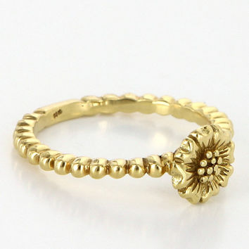 Vintage 18k Yellow Gold Daisy Flower Stack Band Ring Estate Pre Owned Jewelry