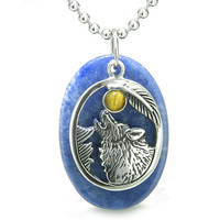 Amulet Courage Howling Wolf Moon Charm in Sodalite Tiger Eye Eye Pendant 22 Inch Necklace