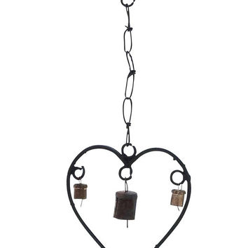Metal Heart Wind Chime With A Design Of Hearts