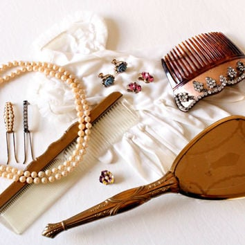 1950's Lot of Accessories, Necklace, Gloves, Hair comb, Brooch, Brush set, Barrettes, Vintage