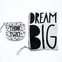 THINKTWICE and DREAMBIG/ fabric money wallet set with hand printed money saving prints