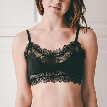 Jenna Lace Accent Wide Bralette Bra